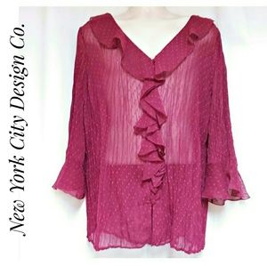 New York City Design Co Fuchsia Ruffle Top 2X